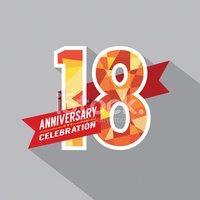 18 Años Diseño DE Celebración DE Aniversario vectores en.