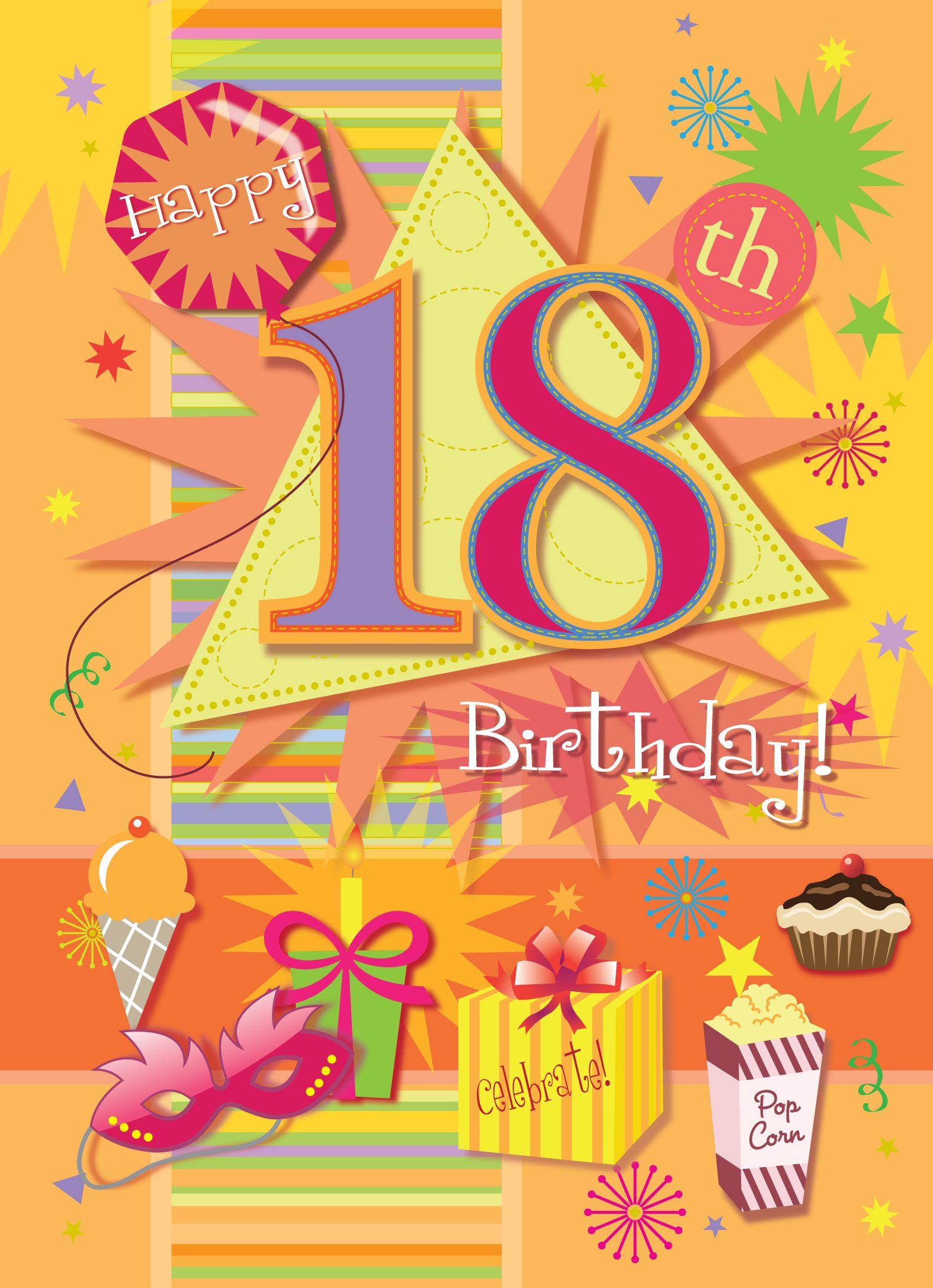Happy 18th birthday. #18thBirthdayIdeas #BirthdayCards.