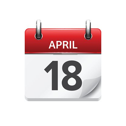 April 18. Vector flat daily calendar icon. Date and time.