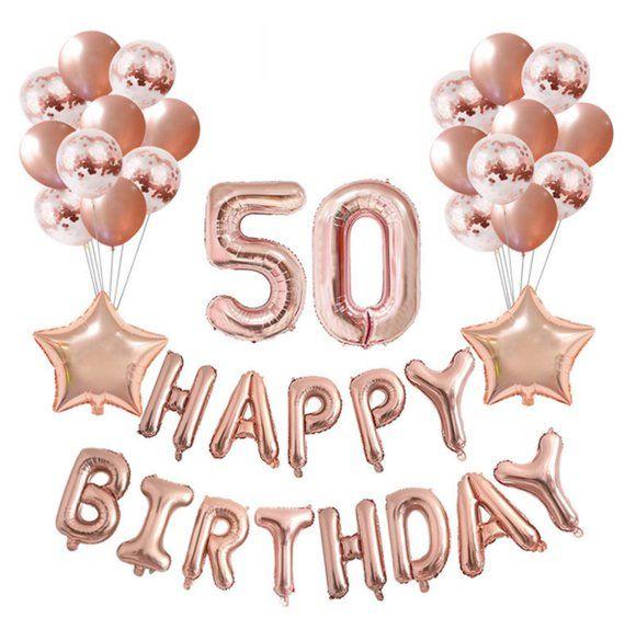 Rose Gold 50th Birthday Balloon Decoration Set.