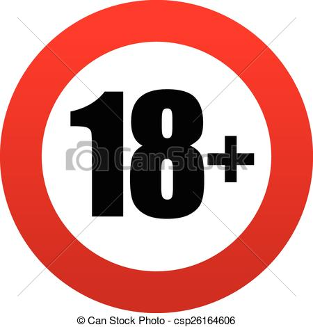 Vector Clipart of 18+ age restriction sign. csp26164606.