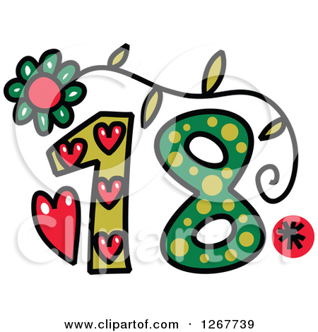 Clipart of a Colorful Sketched Patterned Number 18.