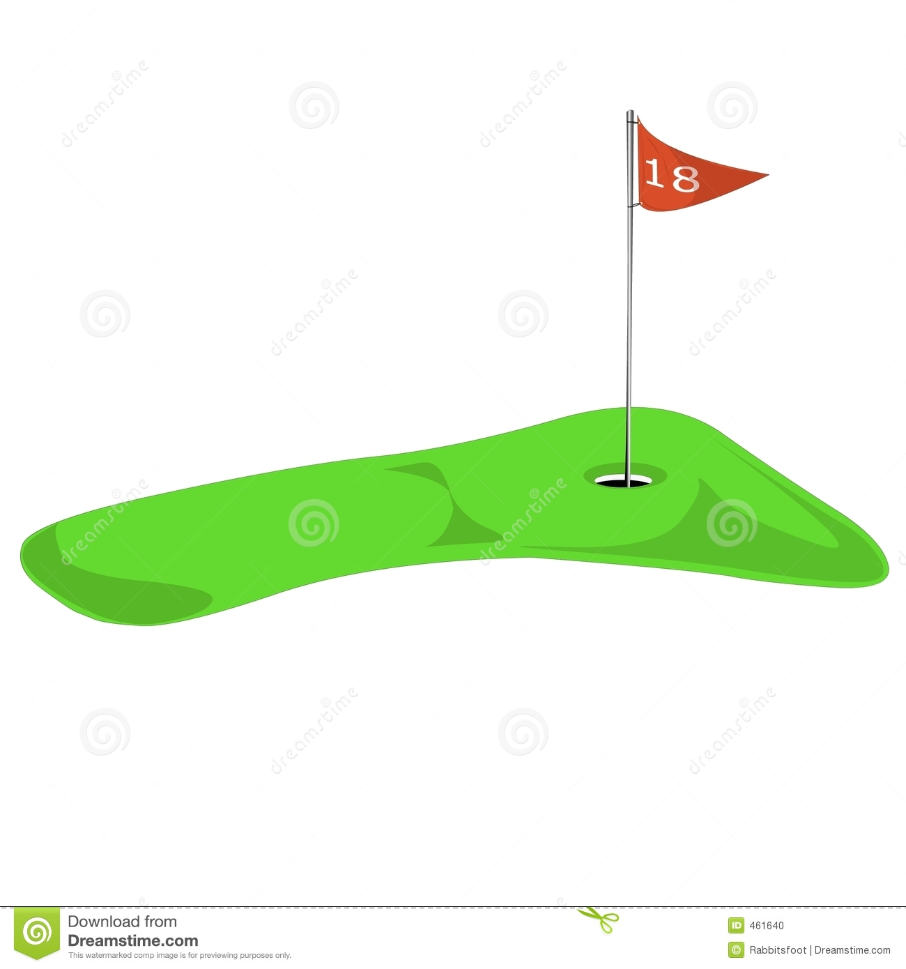 Golf green with flag on 18th.