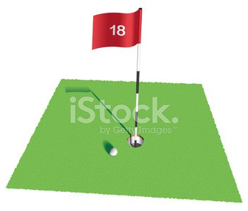 Nice golf shot on 18th Hole Clipart Image.