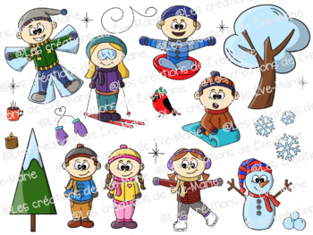 Winter characters Clipart.