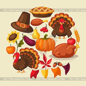 Happy Thanksgiving Day greeting card with objects.
