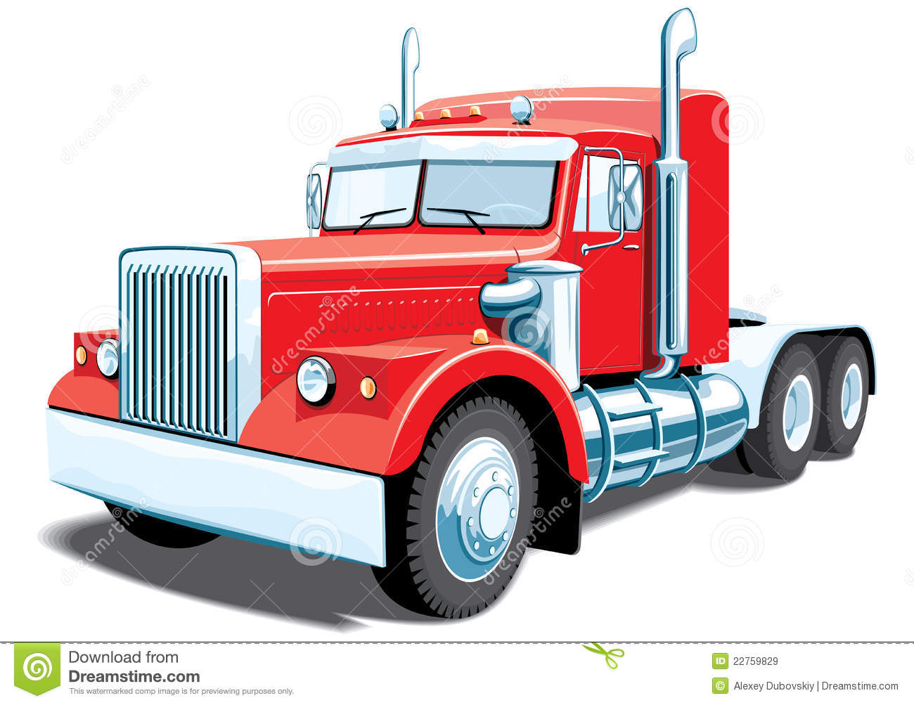 Red Semi Truck Clipart.
