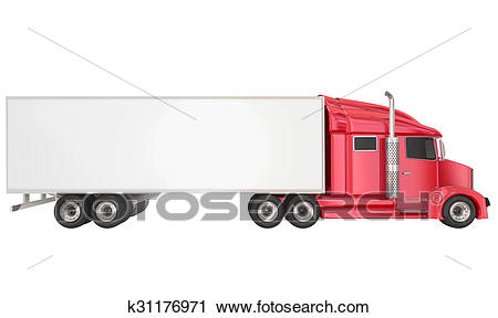 Red 18 Wheeler Class 8 Truck Blank Copy Space Trailer Clip Art.