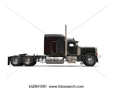 Black 18 wheeler truck.