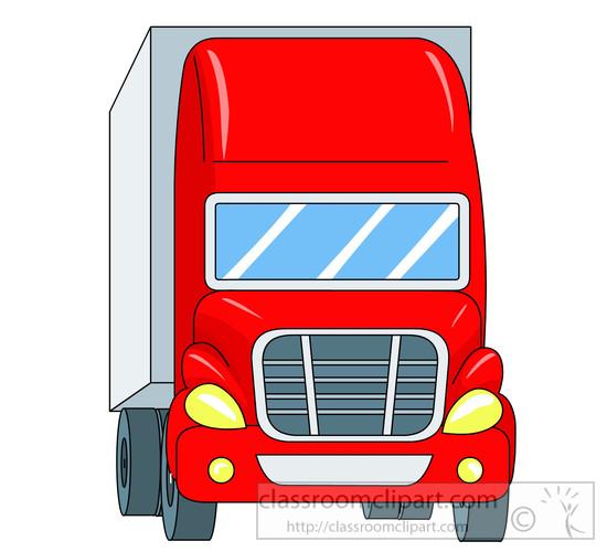 Red Semi Truck Clipart.