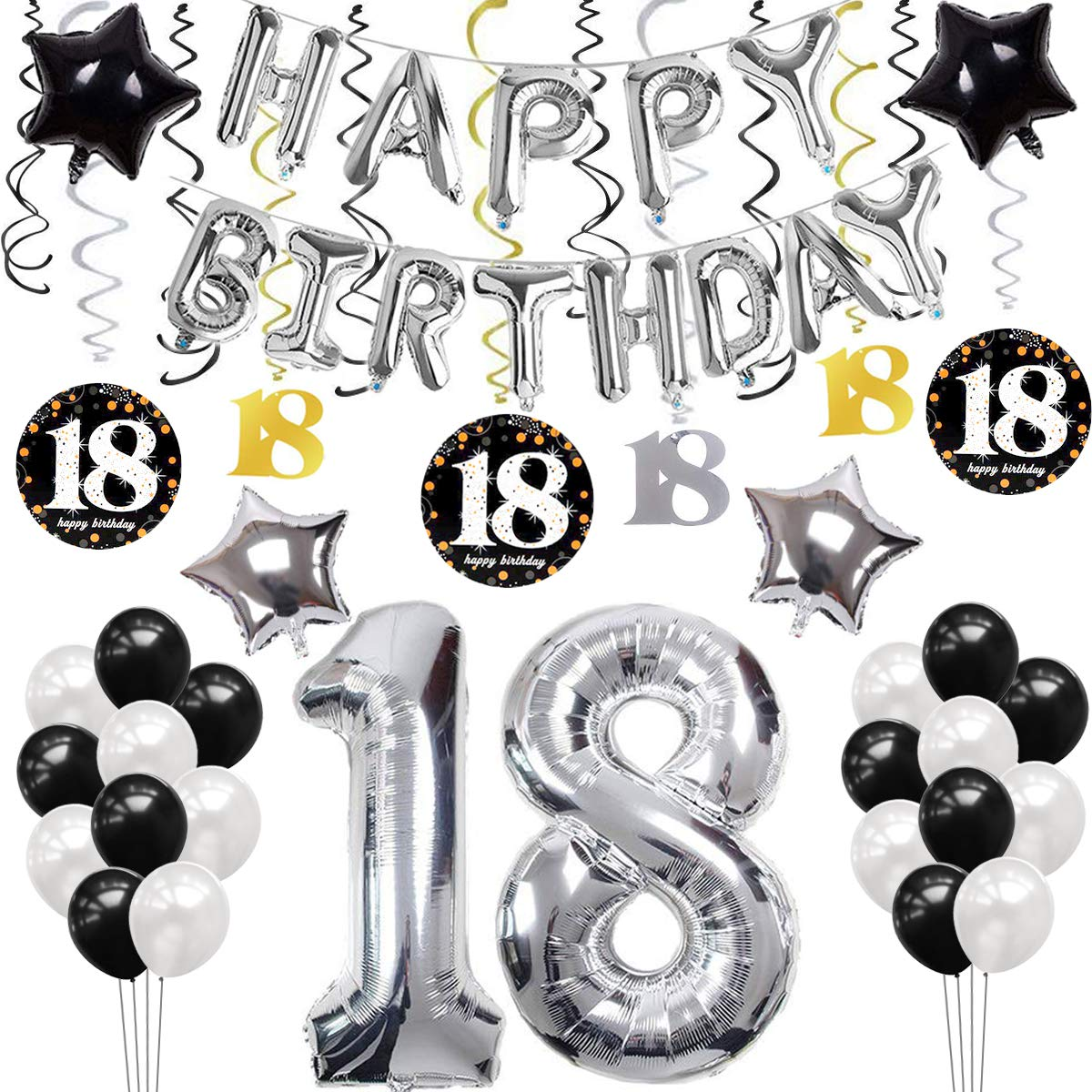 SANCUANYI 18th Birthday Decorations Silver.