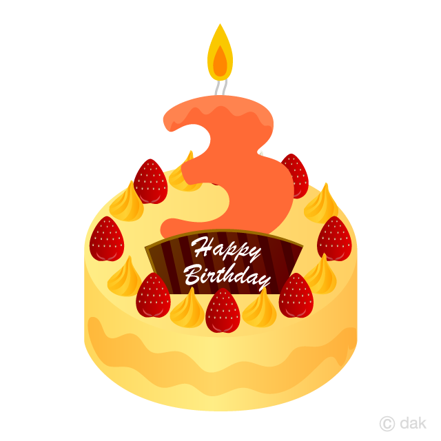 Free 3 Years Old Candle Birthday Cake Clipart Image|Illustoon.