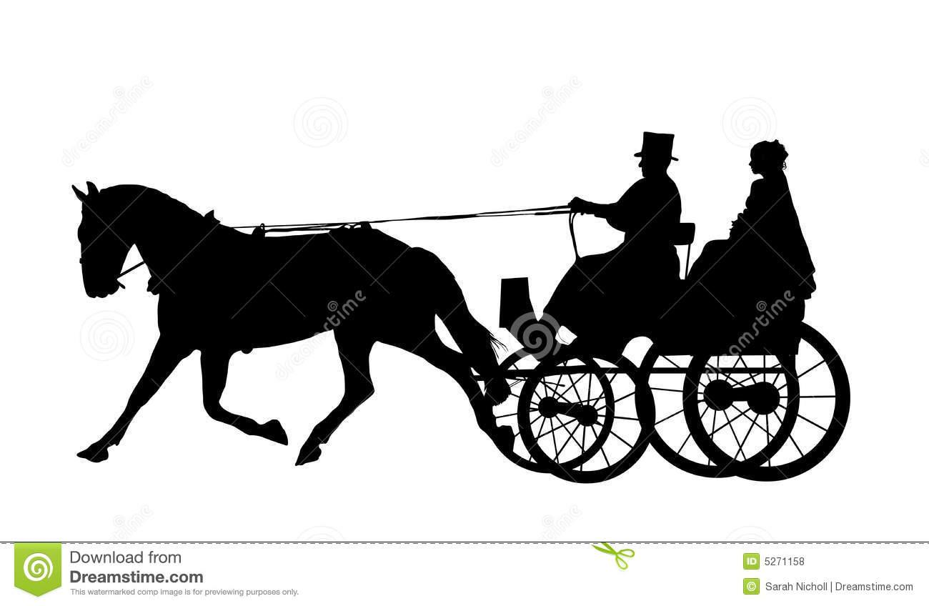 Horse And Carriage Funeral Image Clipart Silhouette.