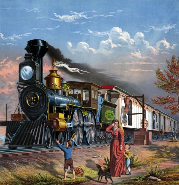 Mail Train Painting Free Stock Photo.