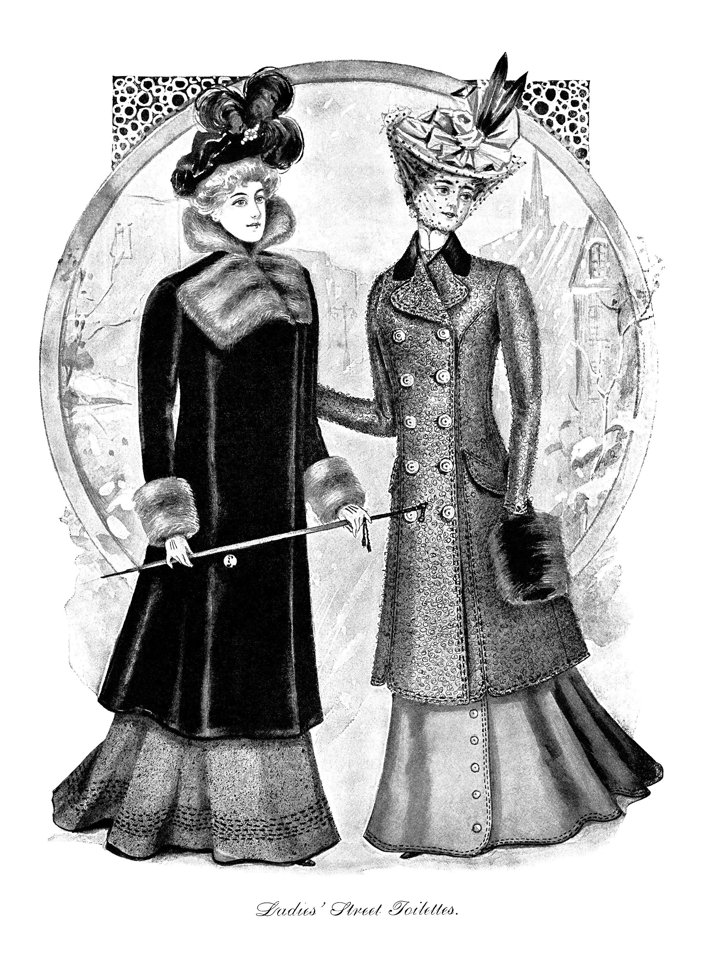 Victorian fashion illustration, Victorian lady, black and white clip.