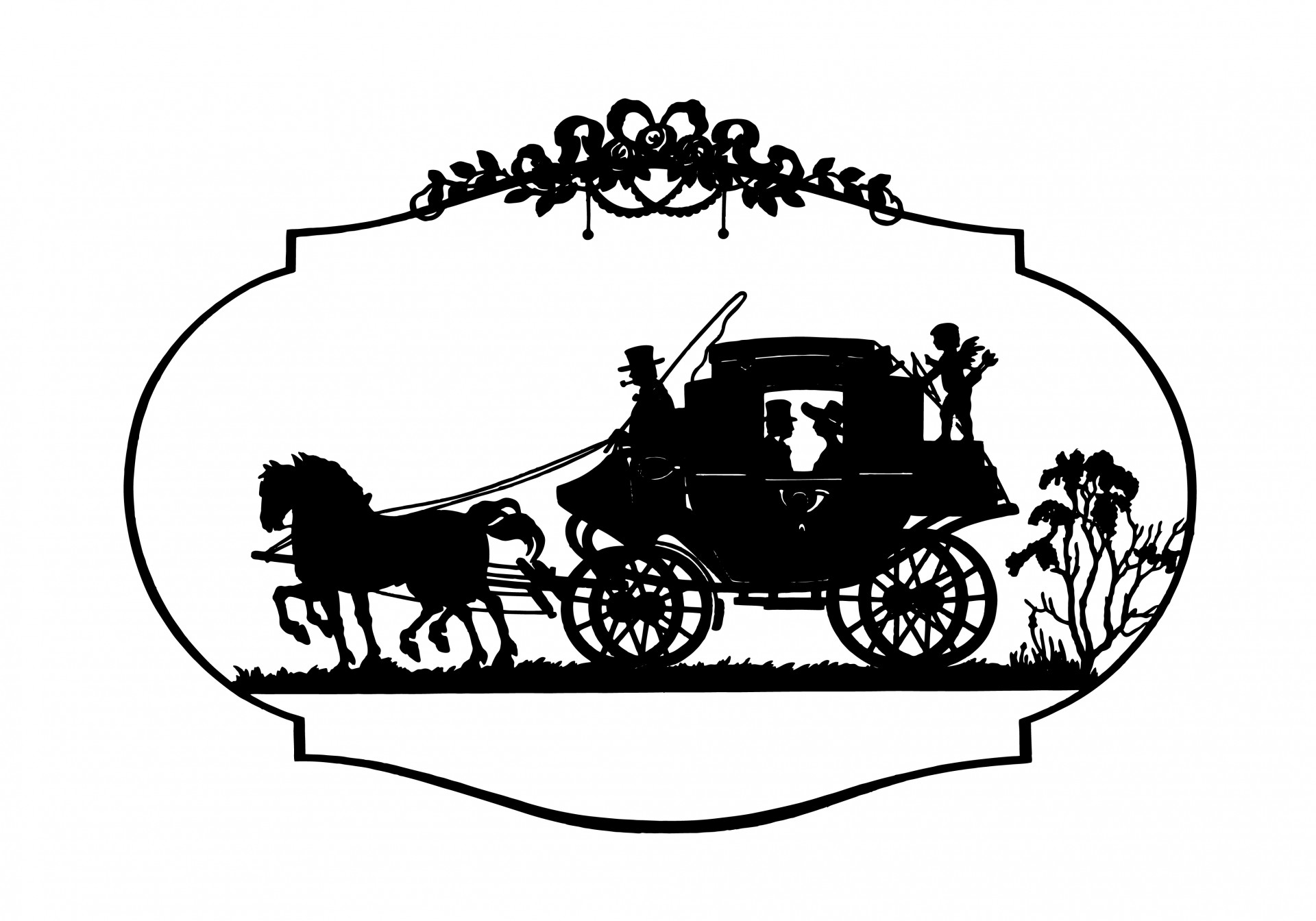Horse & Carriage Vintage Clipart Free Stock Photo.