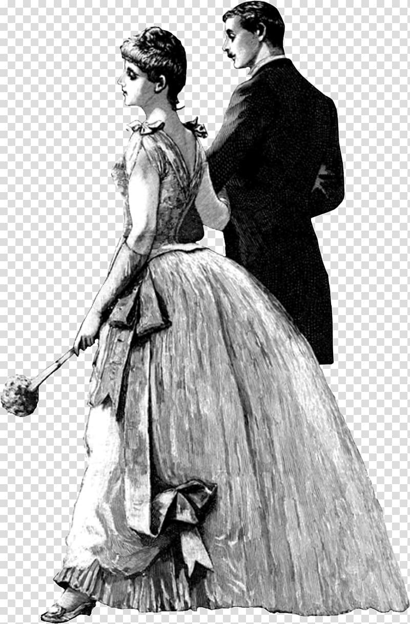 1800s French fashion Regency era, period costume transparent.