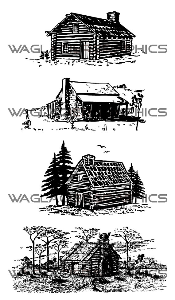 Vintage Copyright Free Cabin Illustrations by.
