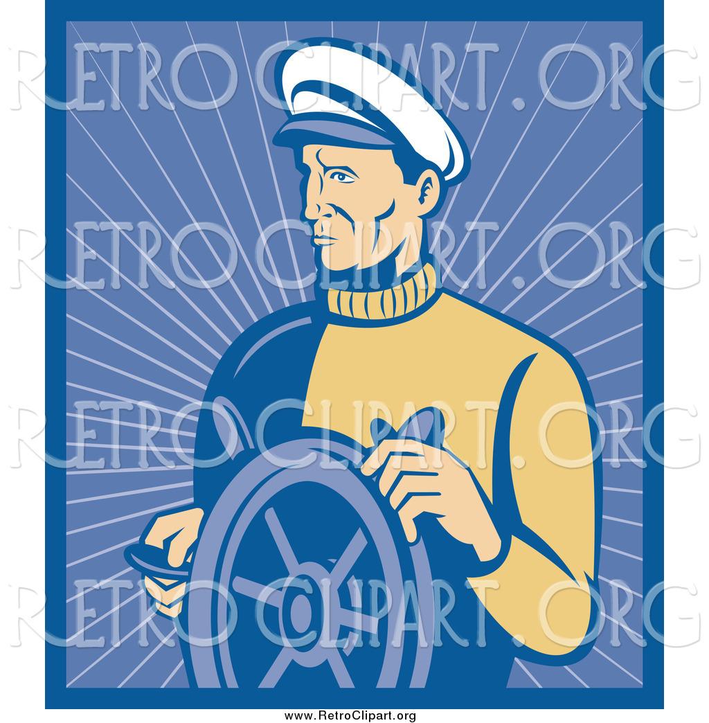 Clipart of a Retro Nautical Captain with a Ship Helm by patrimonio.