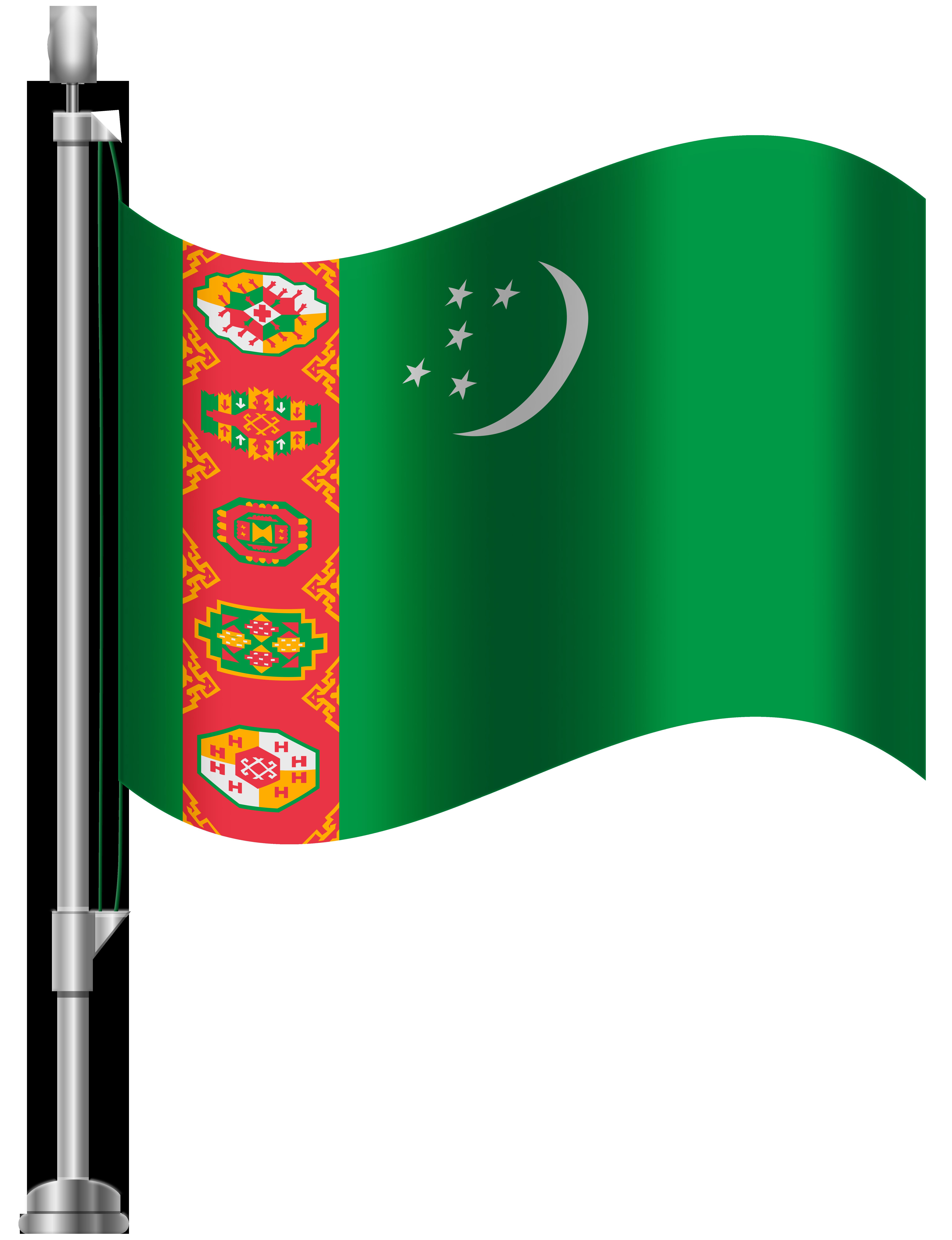 Turkmenistan Flag PNG Clip Art.