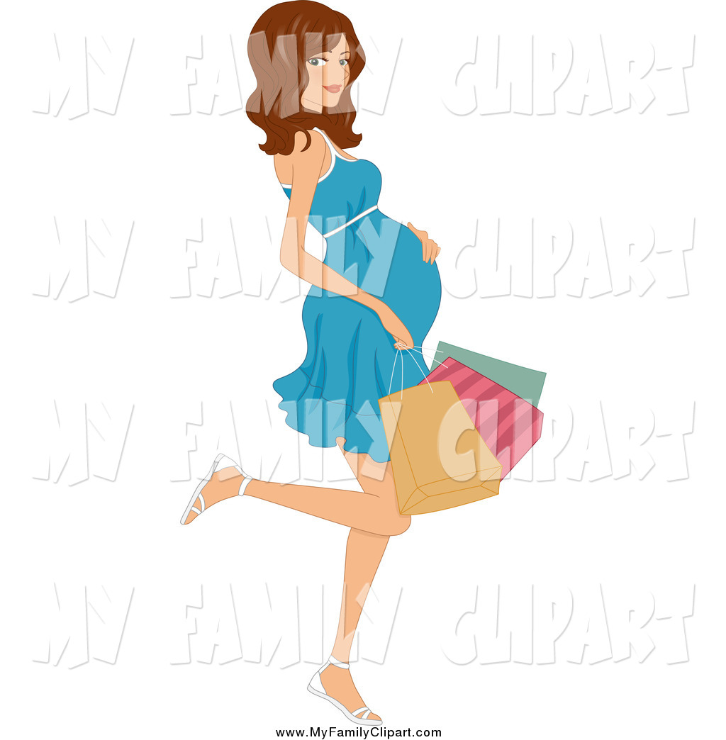 Clip Art of a Pregnant Brunette White Woman Kicking Back a Leg and.