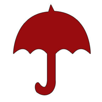 Red Silhouette of an Umbrella Clipart Picture.