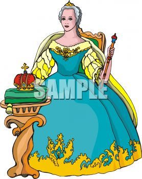Queen Seated on Her Throne Clip Art.