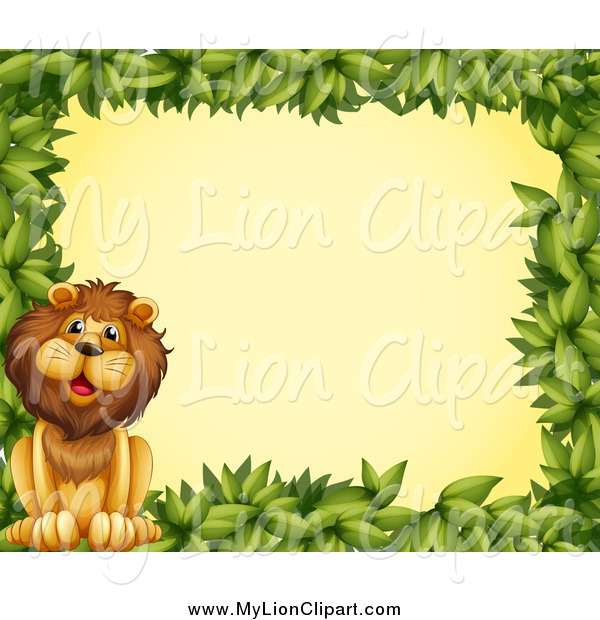 Clipart of a Green Leaf Border with a Lion over Yellow by colematt.