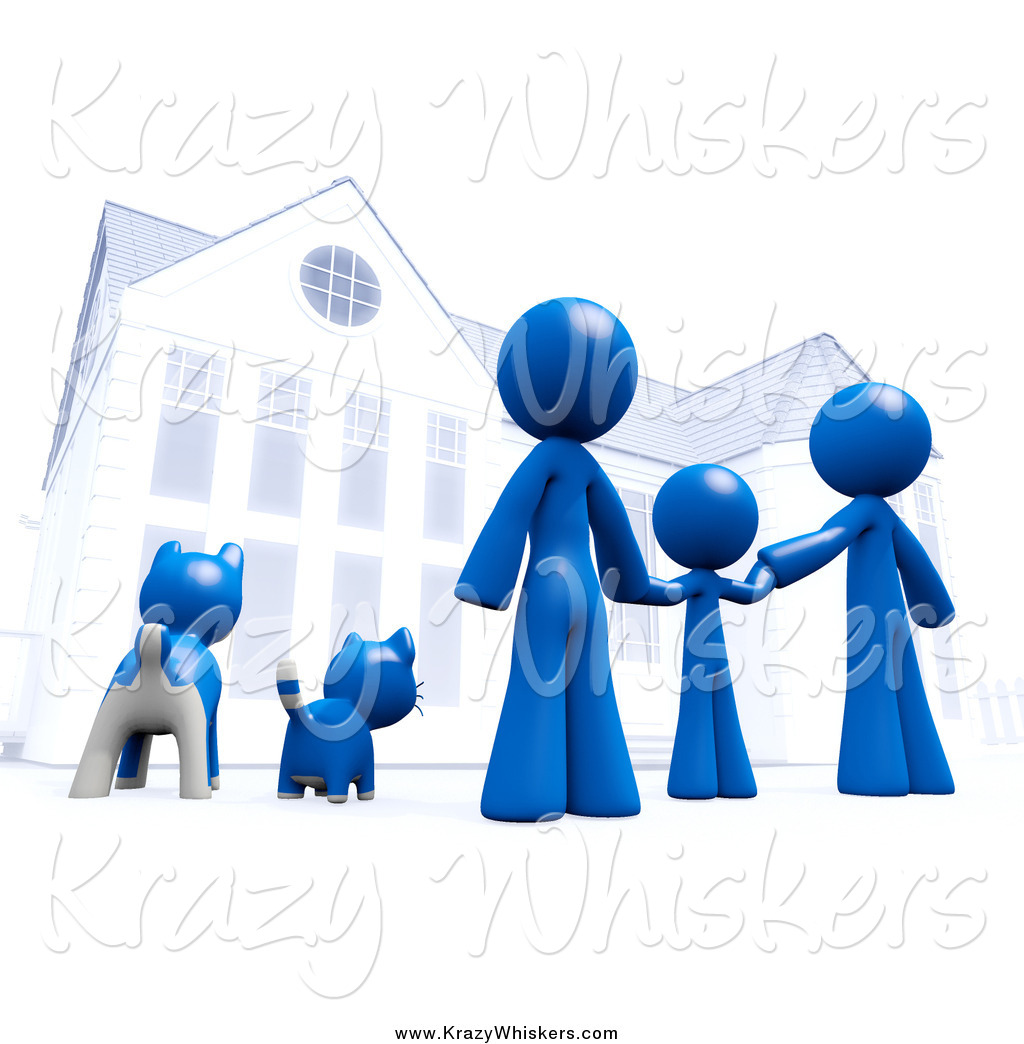 Critter Clipart of a 3d Blue Family and Pets in Front of Their.