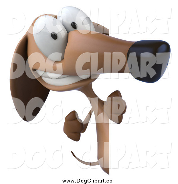 Clip Art of a 3d Wiener Dog Pointing Around a Sign Board by Julos.