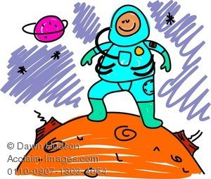 Clipart Illustration of a Child Astronaut.
