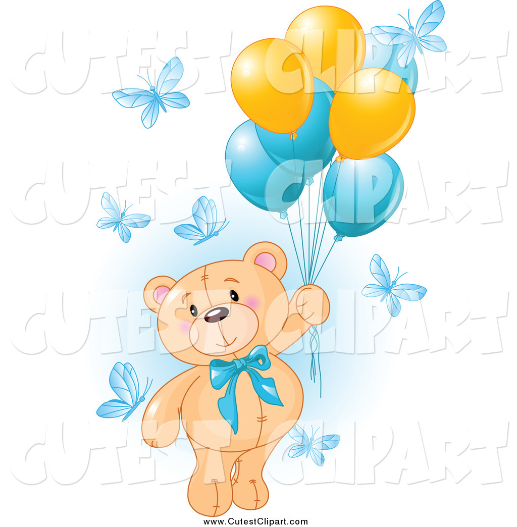 Vector Clip Art of a Teddy Bear Floating Away with Butterflies and.