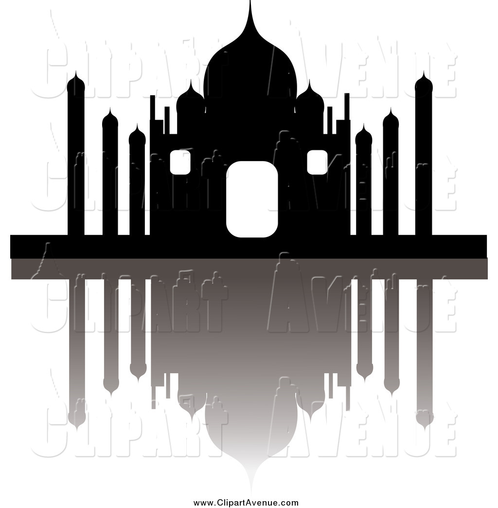 Avenue Clipart of a the Taj Mahal and Reflection by Pams Clipart.