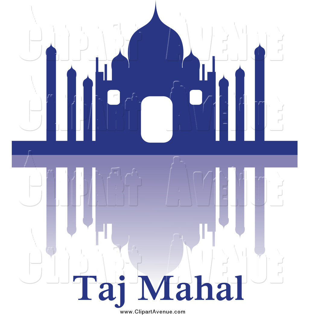Avenue Clipart of a Blue Silhouetted Taj Mahal, Reflection and.