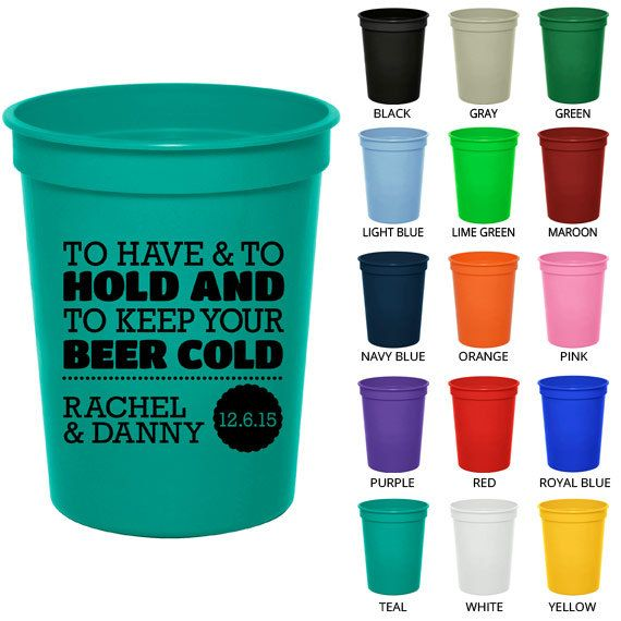 Personalized Plastic Cups (Clipart 1807) To Have and To Hold.