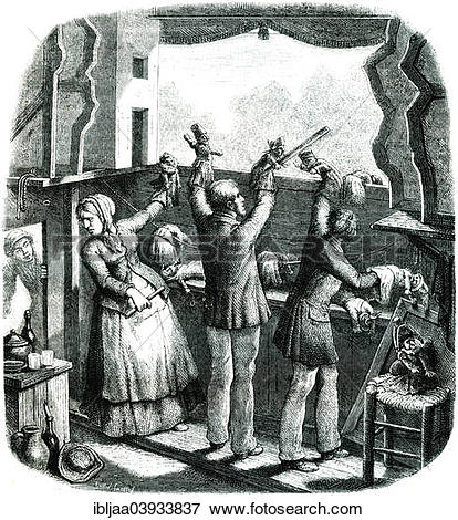 """Picture of """"A puppets theatre in 1807, historical illustration."""