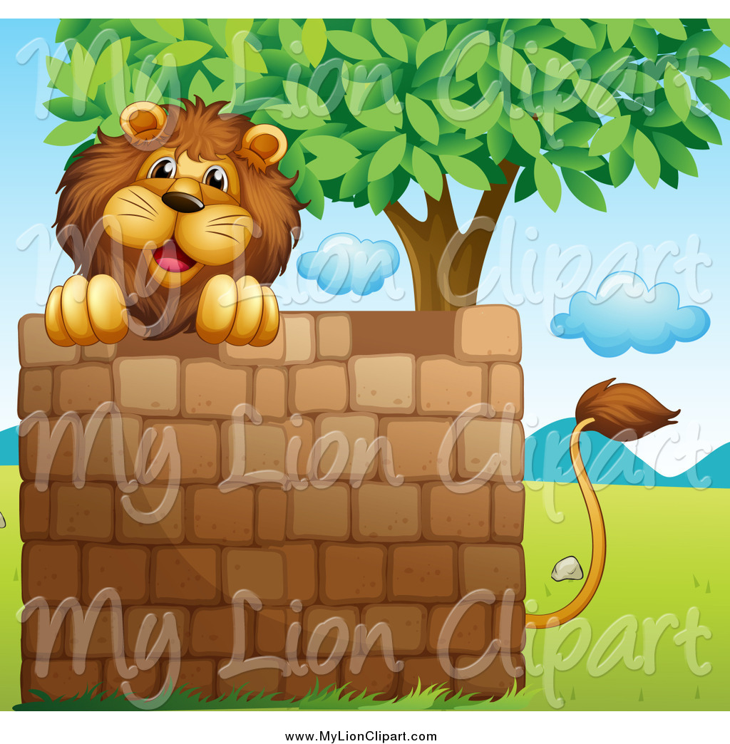 Clipart of a Lion over a Brick Wall Under a Tree by colematt.