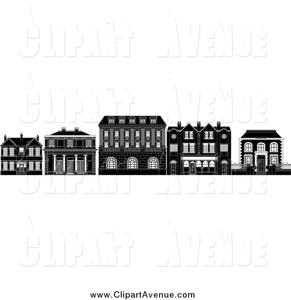 Avenue Clipart of Black and White Row of Edwardian, Victorian and.
