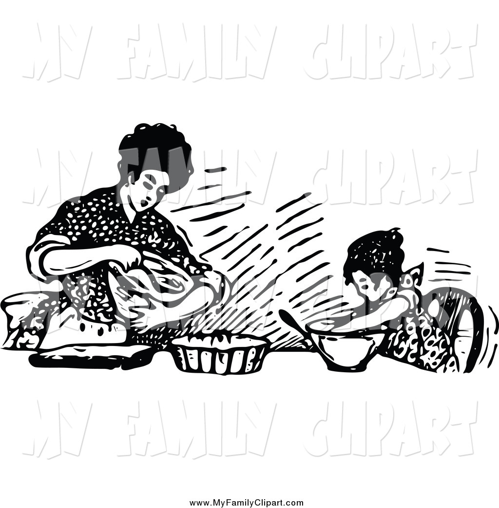 Clip Art of a Retro Black and White Mother Baking with Her.