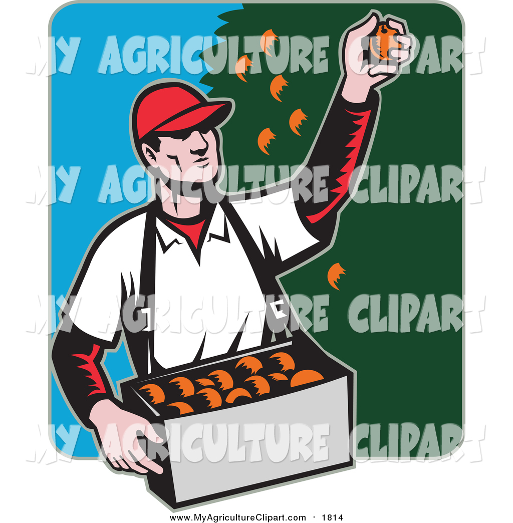 Vector Agriculture Clipart of a Retro White Male Fruit Picker.