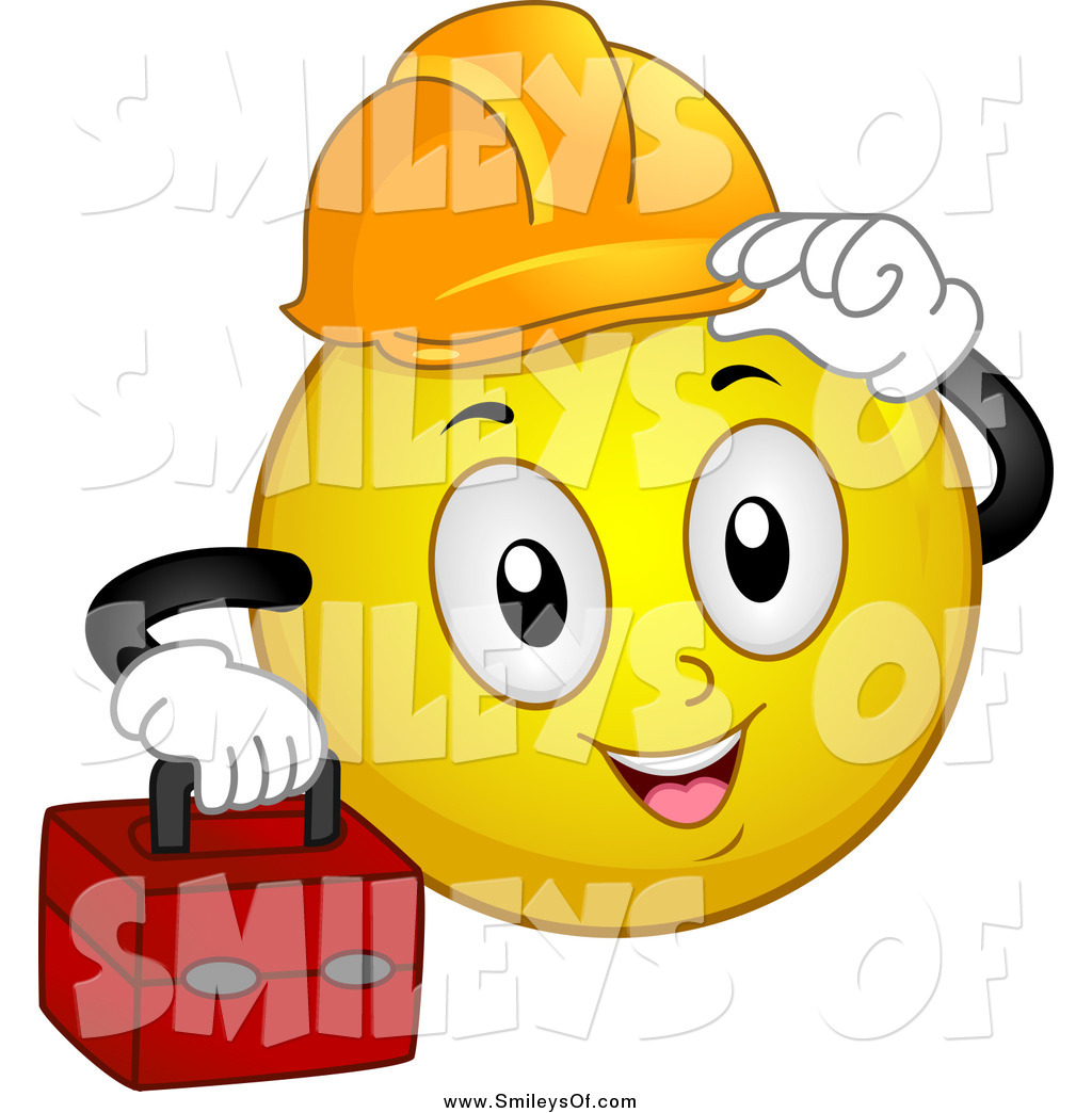 Vector Clipart of a Construction Worker Smiley Carrying a Tool Box.
