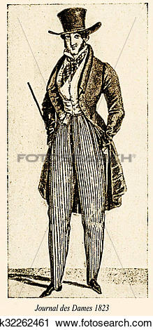 Clipart of Vintage drawing, man with hat and overcoat, Paris.