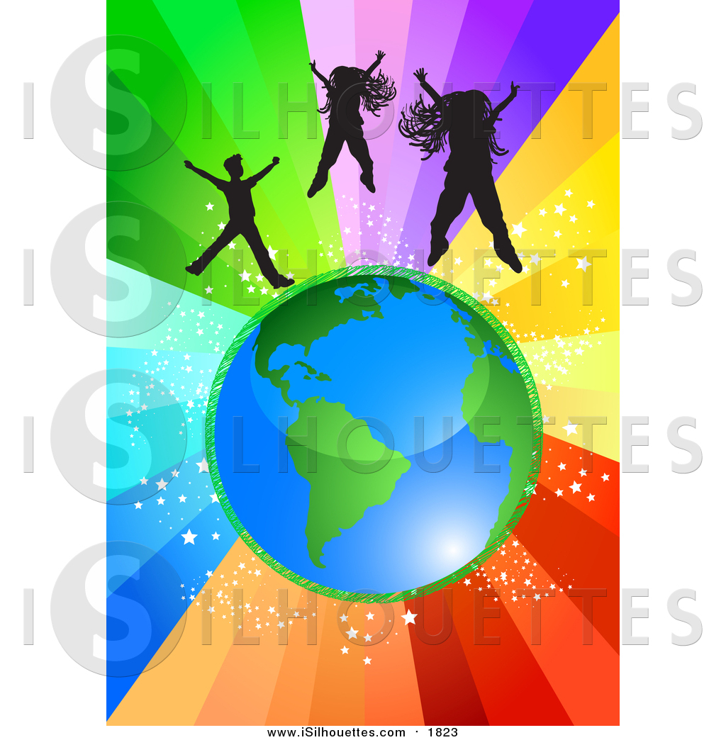 Clipart of Children Jumping Above Planet Earth over a Starry.