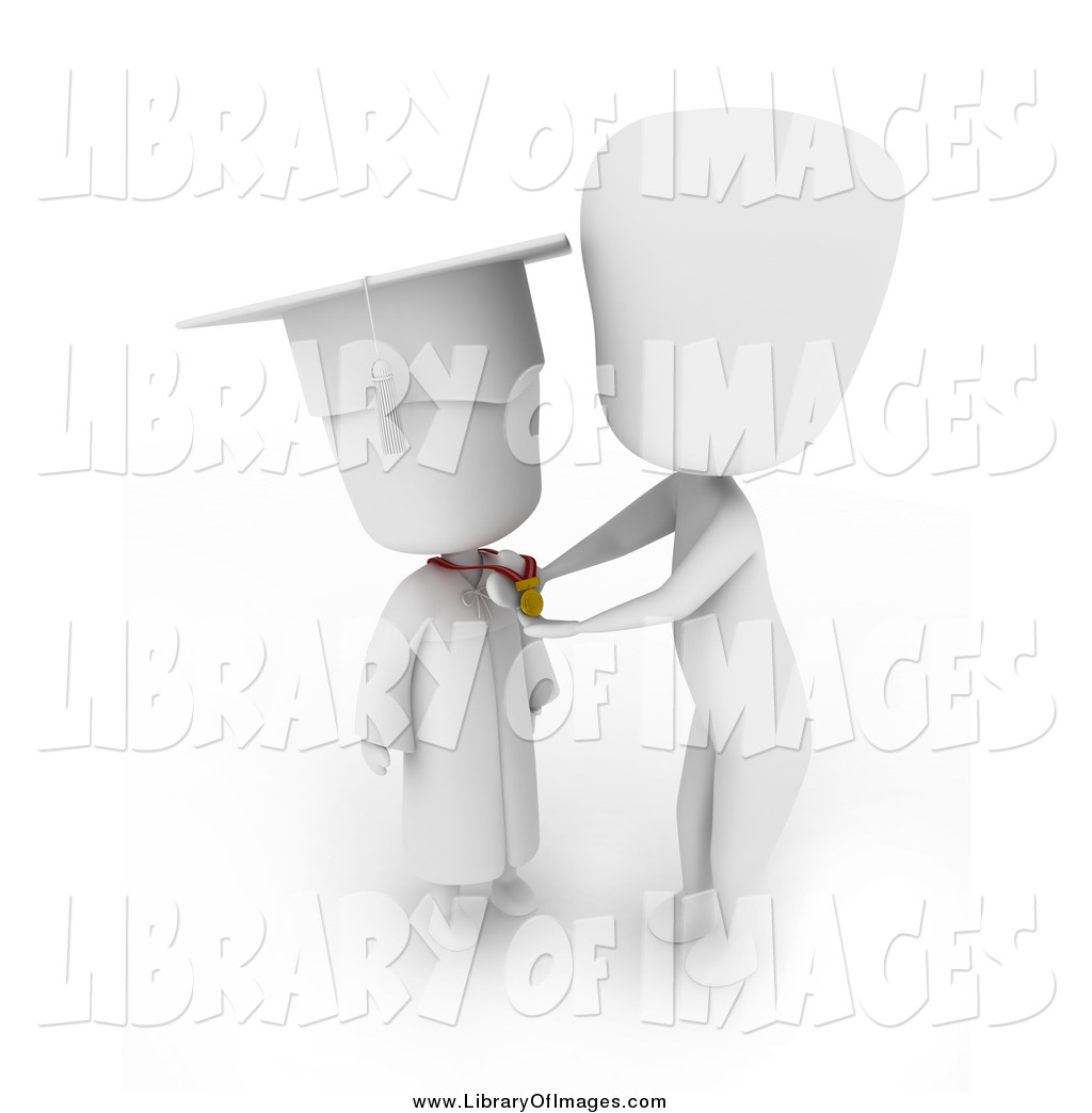 Clip Art of a 3d White Child Graduate Receiving a Medal by BNP.