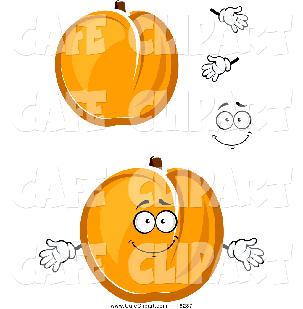 Vector Cartoon Clip Art of a Cartoon Face, Hands and Apricots by.