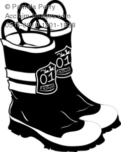 Clip Art Illustration of a Pair of Fireman's Boots.