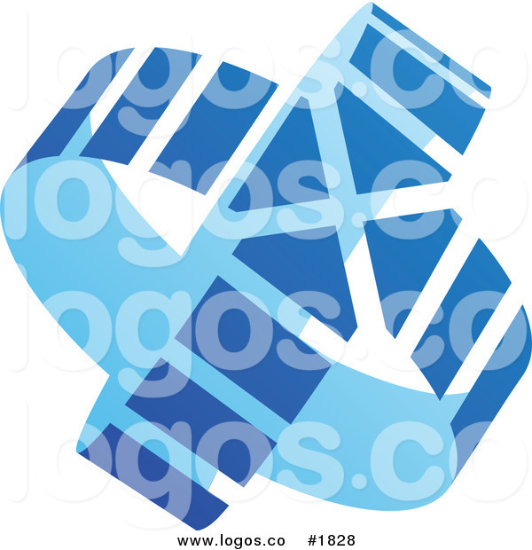 Royalty Free Abstract Blue and Light Blue Circle Arrow Logo by.