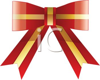 Festive Gold and Red Gift Bow.