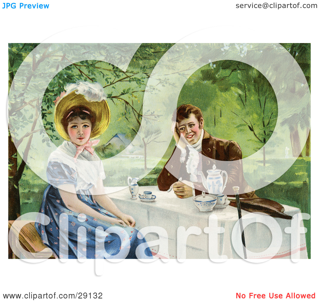 Clipart Picture of a Vintage Victorian Couple Drinking Tea.