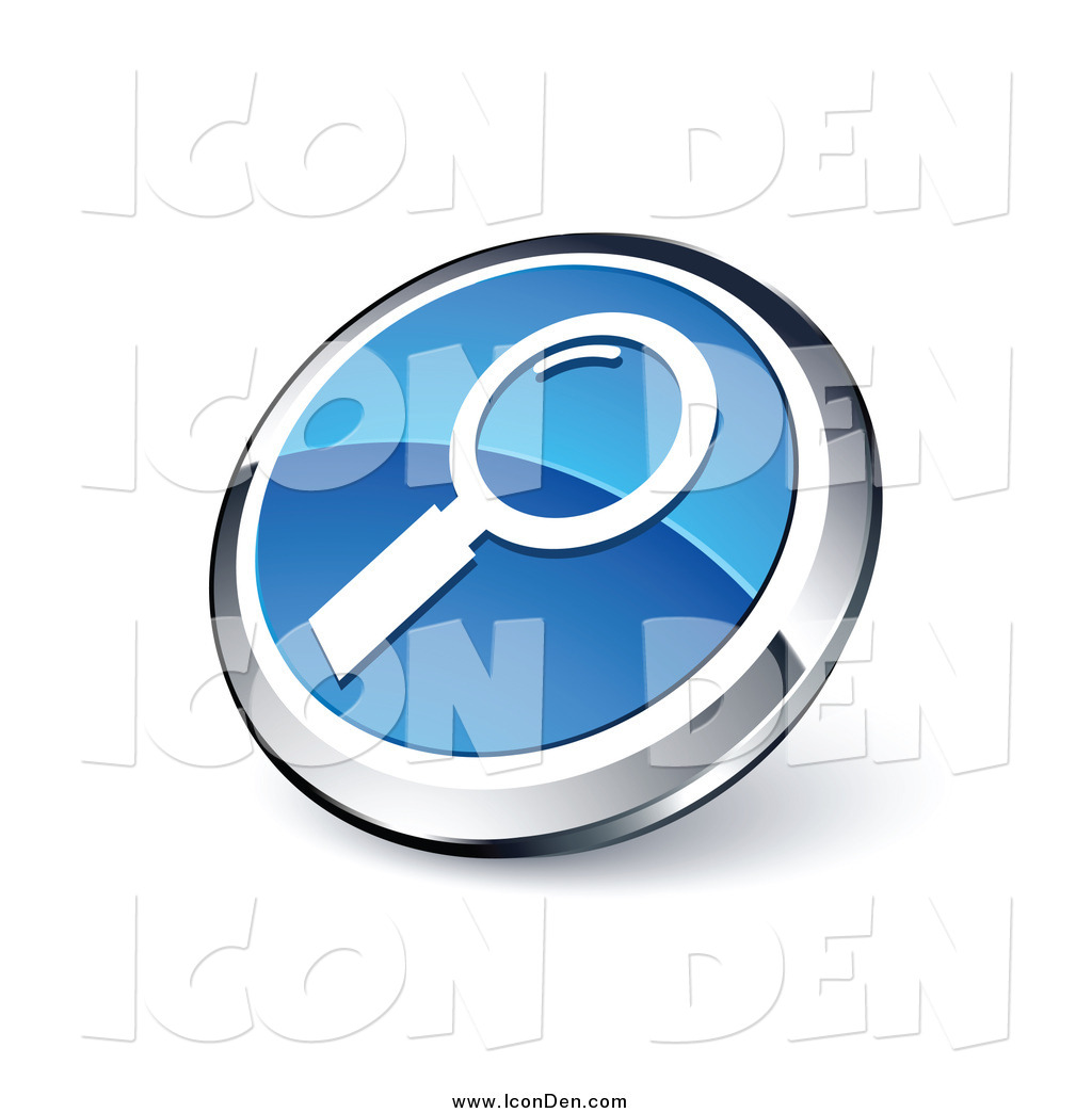 Clip Art of a Round Blue and Chrome Magnifying Glass Search Icon.